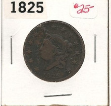 1825 Copper Large Cent Coronet Head VG Very Good