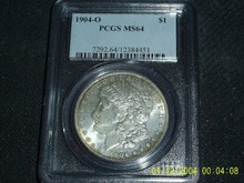 1904-O Morgan Silver Dollar PCGS MS 64 Original Toned