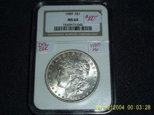 1889 Morgan Silver Dollar Doubled Ear NGC MS 64 VAM 16