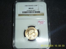 1909 France Gold 20 Francs ROOSTER MS 63 NGC G20F