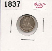 1837 No Stars Half Dime Tought Type Coin EF Extra Fine