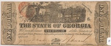 The State of Georgia ONE DOLLAR $1 TRAIN 1863 Fine F