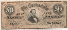 1864 $50 Confederate States of America FIFTY AU/UNC