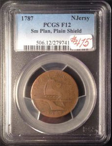 1787 NEW JERSY U.S. COLONIAL SMALL PLANCHET PLAIN SHIELD PCGS CERTIFIED F 12