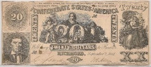 $20 Confederate States of America BeeHIVE type 20 VF/EF