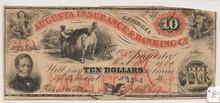 1860 $10 Augusta Insurance & Banking Co. Georgia VG+