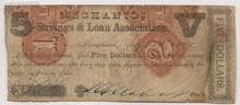 1862 $5 Savannah, Mechanics Savings & Loan Assoc.