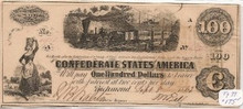 1862 $100 Confederate Currency Type  39