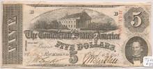 1863 $5 Richmond, VA Cancelled Confederate Type 60 AU 330307546417