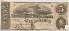1863 $5 Richmond, VA Cancelled Confederate Type 60 AU