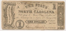 1862 $1 State of North Carolina