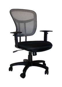 Padded Charcoal Black Seat & Contrasting Grey Mesh Back