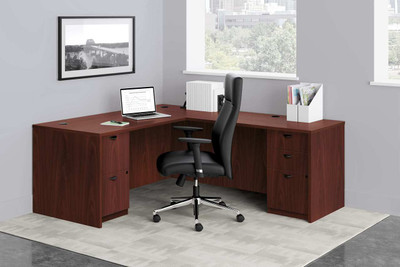 Leather Tuxedo Design Executive High Back in desk suite setting