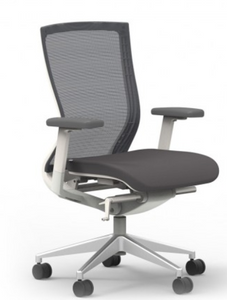 I-Desk Oroblanco Synchro-Tilt Chair in Coal White Frame