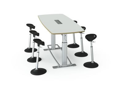 Focal Focal Confluence 6' Conference Table with Dry Erase Top and Mobis Stools (sold separately)