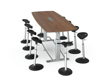 Focal Confluence 8' Conference Table  with Mobis Perch Stools (sold separately)