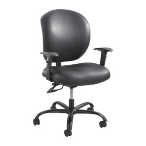 Black Vinyl Alday™ 24/7 Task Chair with Adjustable Height/Width T-Pad Arms
