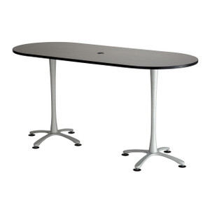 "Cha-Cha™ Racetrack Teaming Table, Bistro-Height, 84"" x 36"", Asian Night Top with Metallic Gray Leg Finish"