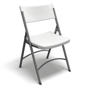 Heavy Duty Folding Chair in Textured White