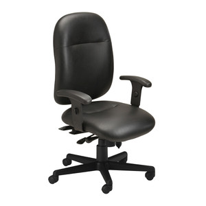 24-Hour Chair in black leather with arms