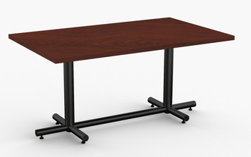 "Maxim Hospitality Table in Mahogany, 30"" x 60"" with Standard Black Leg Finish"