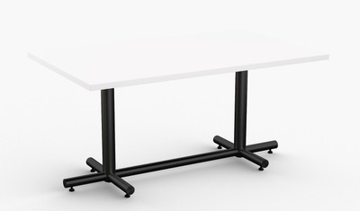"""Maxim Hospitality Table in White, 30"""" x 60"""" with Standard Black Leg Finish"""