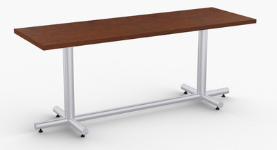 """Maxim Hospitality Table in Cherry, 24"""" x 72"""" with Optional Metallic Silver Leg Finish"""