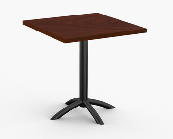 "Fusion Hospitality Table in Mahogany, 36"" x 36"" with Standard Black Base"