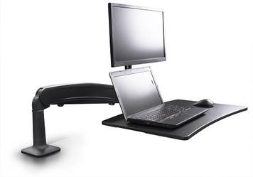 Symmetry Co-Pilot Single Arm Sit-Stand Workstation with black arm