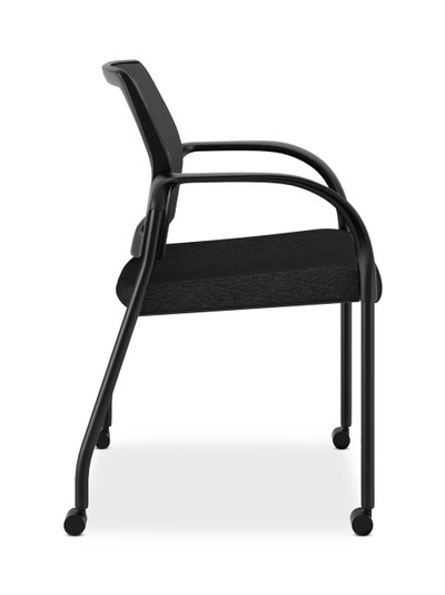 ... Hon Ignition Multi Purpose Stacking Chair Mesh Back With Casters In  Black Fabric Side View ...