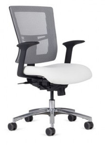 Management Mid-Back shown in Starlight Silver Mesh, AR-11 arms, optional polished aluminum package, and dual color soft casters (additional charges may apply).