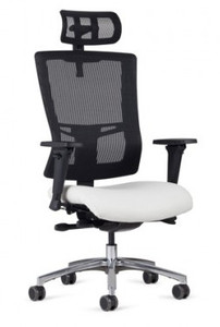 Executive High Back with Head Rest Night show in Nightfall Black Mesh, JR-69, standard polished aluminum package, and dual color soft casters (additional charges may apply).