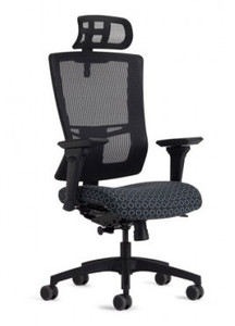 Simple High Back and Head Rest shown in Night Fall Black Mesh, JR-49 arms, standard modern black package, and dual color soft casters (additional charges may apply).
