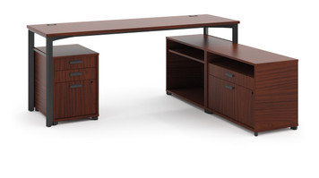 "Hon Manage 72"" Worksurface L-station in Chestnut"