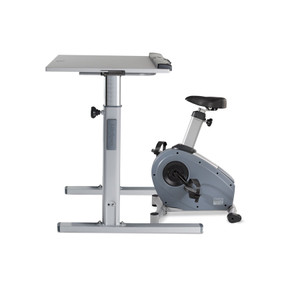 LifeSpan C3-DT5 Upright Bike Desk with silver frame and Grey desktop
