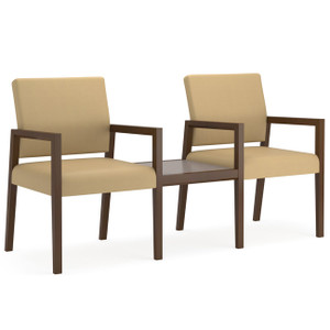 Brooklyn Wood Two Chair Modular with Connecting Center Table