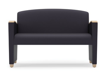 Savoy Upholstered Loveseat with wood arm accents