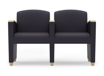 Savoy Upholstered Modular with Two Seats and wood arm accents