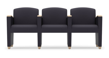Savoy Upholstered Modular with Three Seats and wood arm accents