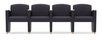Savoy Upholstered Modular with Four Seats and wood arm accents
