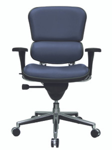 Ergohuman Upholstered Mid Back Executive, Dillon Healthcare Vinyl in Ocean