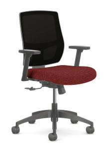 Airus Mid Back Task in Fuse Carmine and Pitch Mesh Back, height adjustable arms