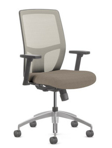 Airus High Back Synchro Task in Perk Pewter and Platinum Mesh Back, height and width adjustable arms   and aluminum base
