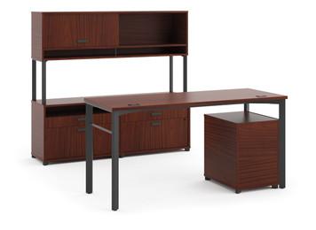 """Hon Manage 60"""" Desk and Credenza Workstation in Chestnut"""