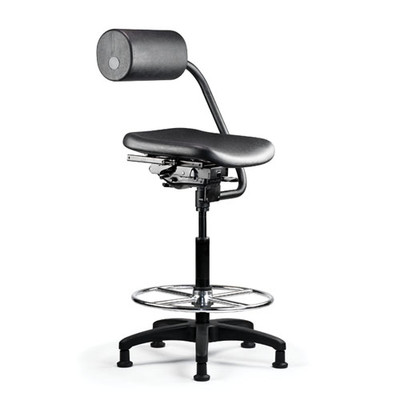 """AbChair Urethane Seat with 8"""" stool cylinder and chrome footring"""