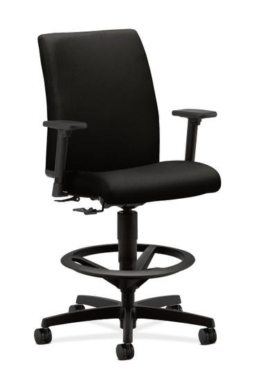 Hon Ignition Upholstered Back Task Stool in Black fabric