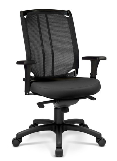 Voila High Back Swivel Tilt Task Chair with standard black knit back and frame and Reflex Grade Cornerblock in Black - Quickship Version