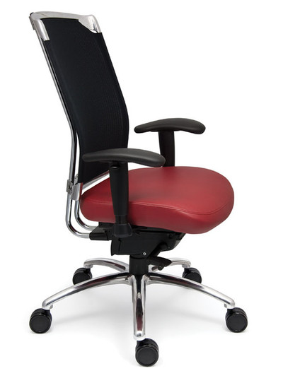 Voila High Back Swivel Tilt Task Chair with polished aluminum base, Black Knit and Rubin Mammut Leather and optional chromed back