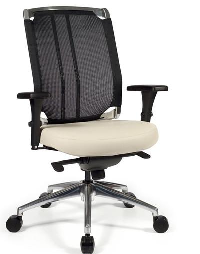 Voila High Back Swivel Tilt Task Chair with polished aluminum base, Black Knit and White Mammut Leather and optional chromed back