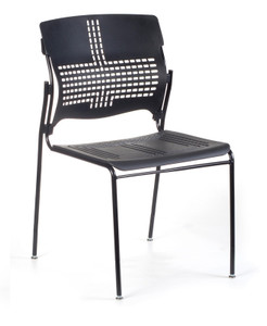 Sense Stacking Chair, black with standard black sandex finish on four leg base